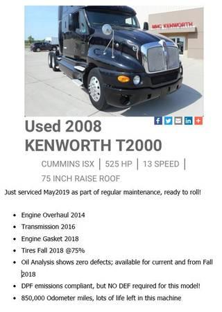 Kenworth T2000 Truck & Dry Van Trailer (Davenport, IA) $42000
