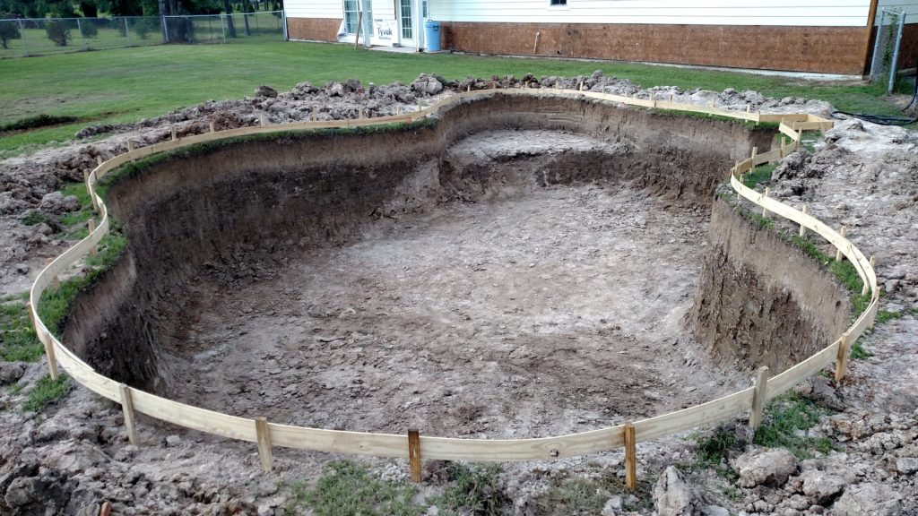 excavation complete on a free form pool