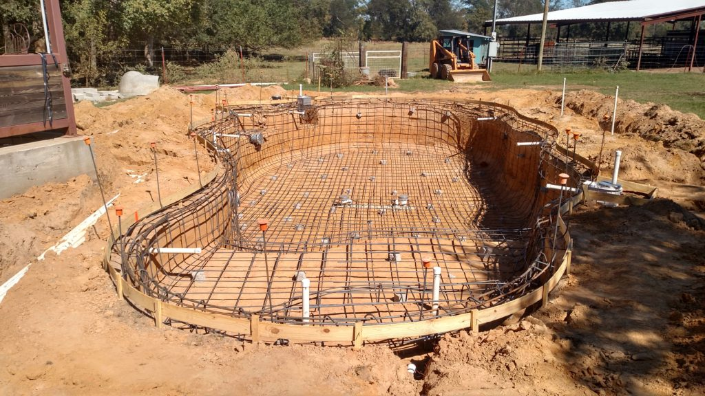 new pool construction with steel plumbing and electrical completed