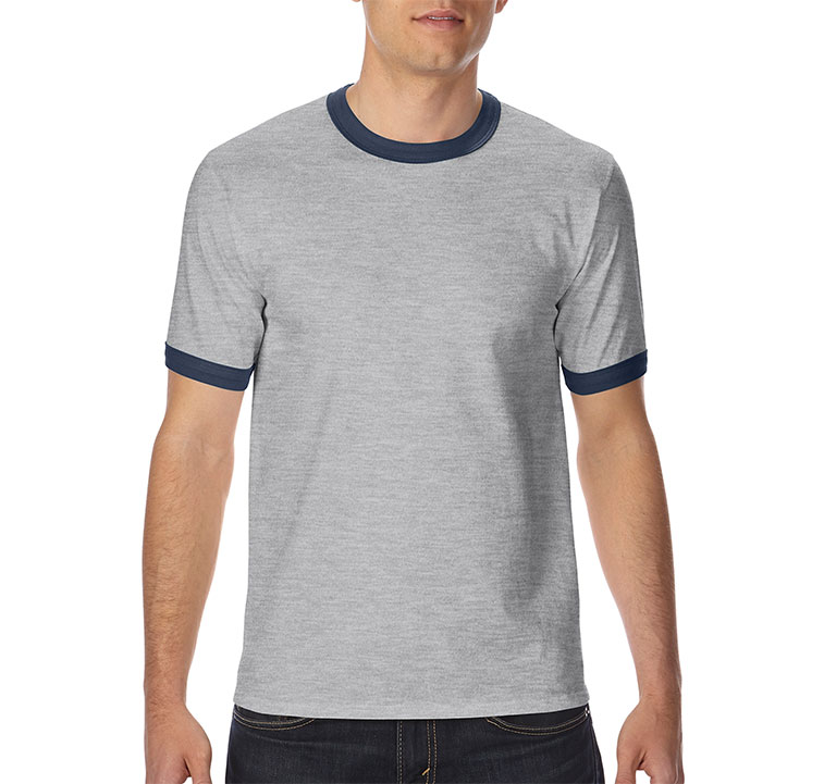 GILDAN 180g 全棉平紋成人撞色領短袖圓領T恤
