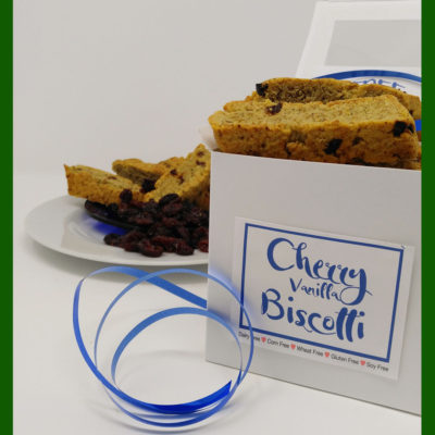 GluFREEgan™ gluten free vegan fresh baked Cherry Vanilla biscotti subscription
