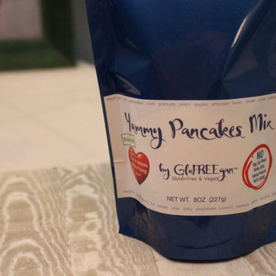 Close up of blue bag of gluten free, sugar free, and vegan yummy pancakes mix