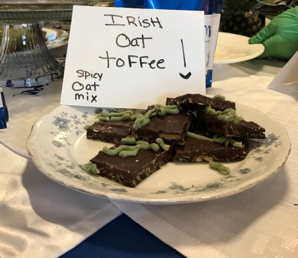 plate with several pieces of gluten free and vegan irish oat toffee bars