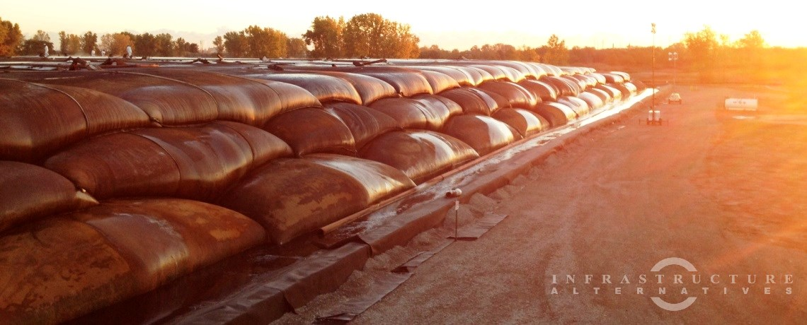 Stacked geotextile tubes at the East Branch Grand Calumet River Remedial Action site