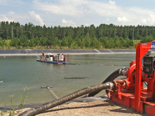 Dredging coal ash pond