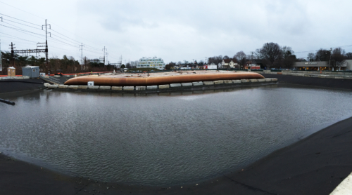 Dewatering pad after several months of dredging operations