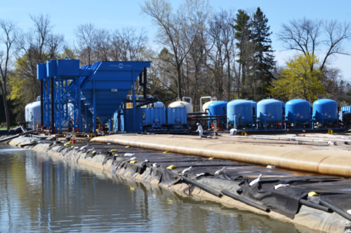 Dewatering pad sump and water treatment plant