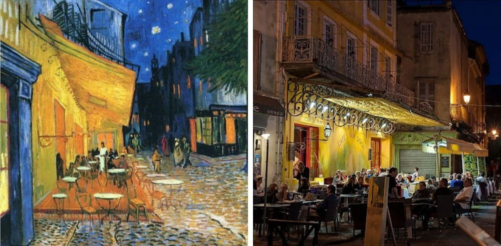 Cafe Terrace is lauded for its use of contrasting colors. The starry sky is a precursor to Van Gogh's famous Starry Sky painting. Via moma.org | The original cafe is now called Cafe Van Gogh. Photo via shutterstock.