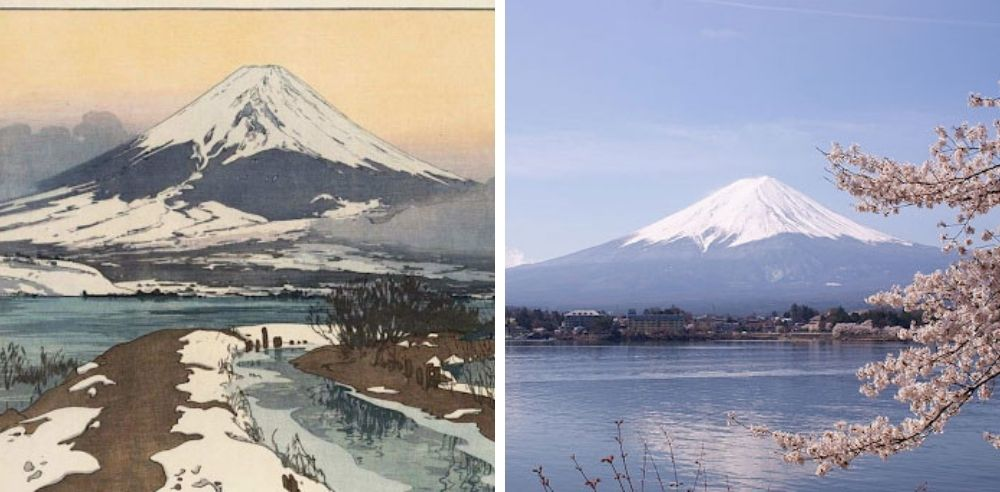 The focus on light is a feature of impressionism, yet this painting still maintains its uniquely Japanese style. Art via mfa.org | Lake Kawaguchi is the second largest of the 5 Mount Fuji Lakes. Photo via Midori