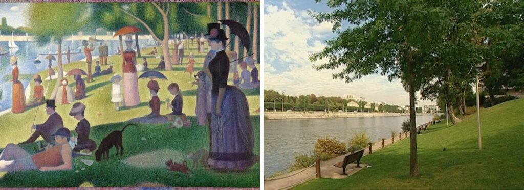 """Seurat preferred to call the pointillism style """"chromo-luminarism"""". Via moma.org 