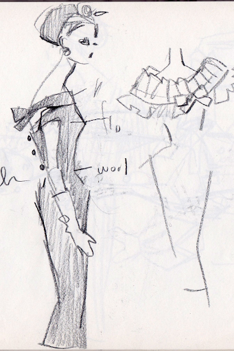 Initial sketches are rough costume ideas made in pencil without any color. Via Pinterest.
