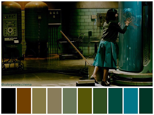 The Shape of Water's brown, green, and blue color palette fits the overall water theme. Via Pinterest.