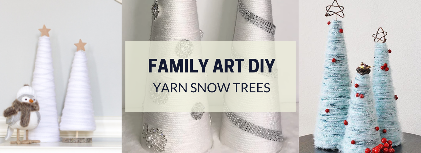 Family Art DIY - Yarn Snow Trees