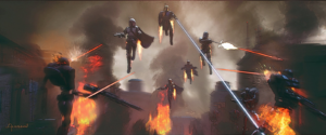 Concept art from The Mandalorian previews exciting action scenes for the team. Via Twitter.