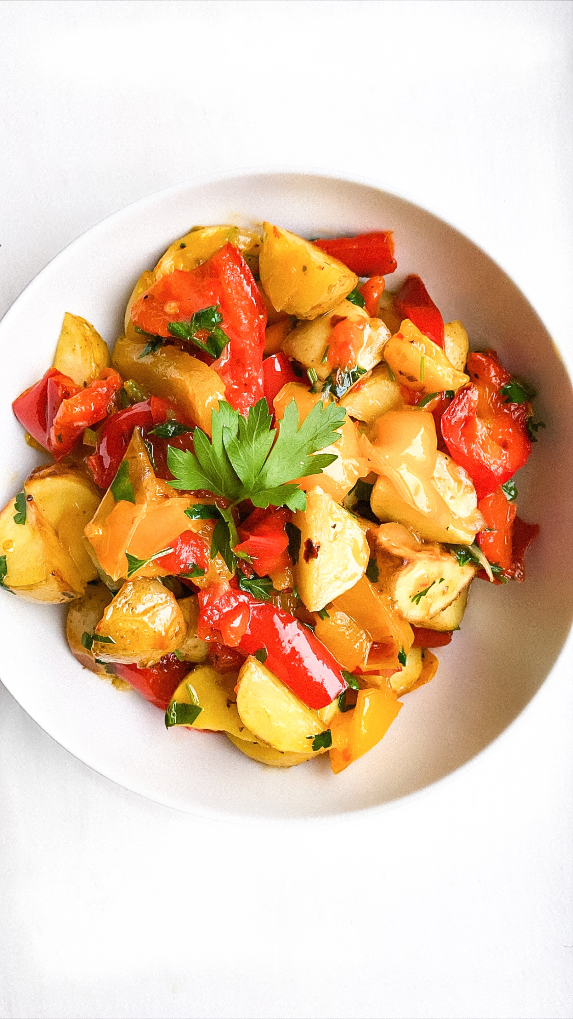Roasted Potatoes with Peppers and Onions