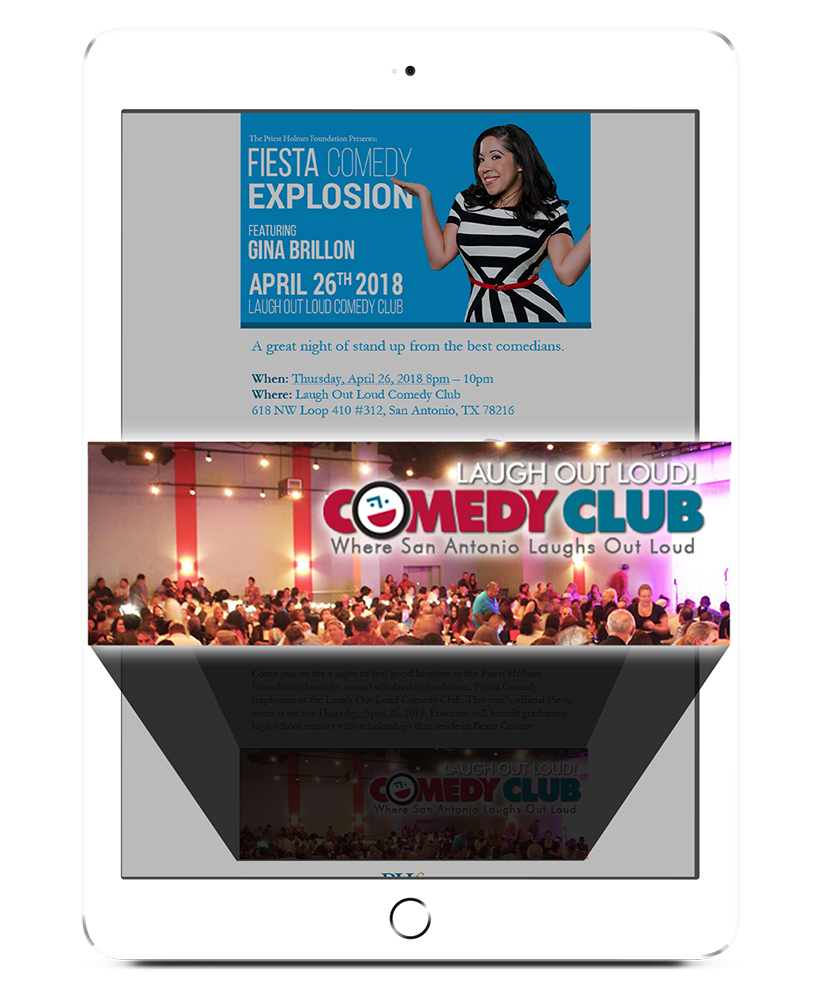 Newsletter Sponsorship | Fiesta Comedy Explosion Sponsorship Packages | Official Priest Holmes Foundation Website | Priest Holmes Son | Priest Holmes Girlfriend | Priest Holmes Wife | Priest Holmes Engaged | Priest Holmes Family | Priest Holmes is Engaged