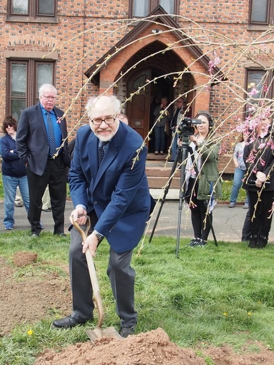 Steve Kalista at the memorial tree