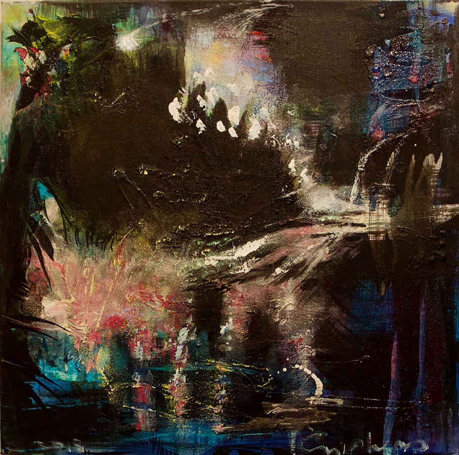 """Cascading Pond (for Venus), 2018, paint and mixed media on canvas, 24x24"""""""