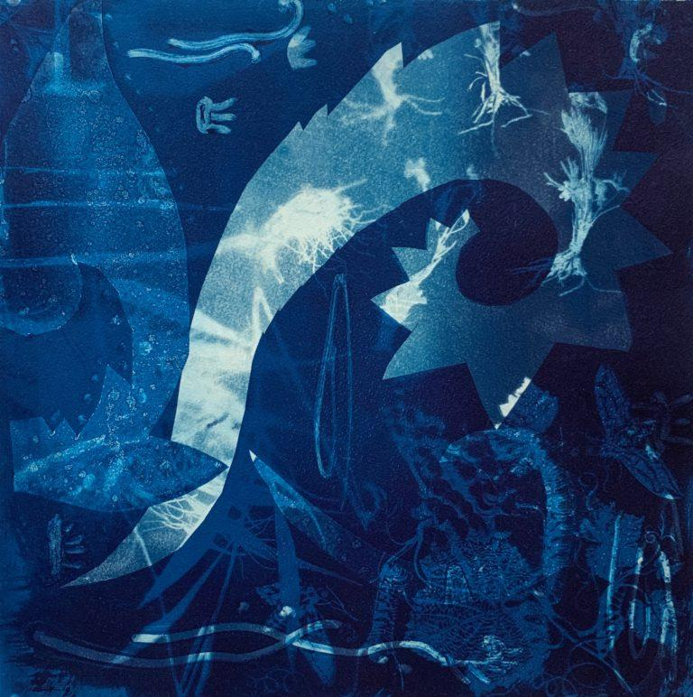 Heirs To The Sea-1, 2019 cyanotype and etching ink on arches, 14×14″