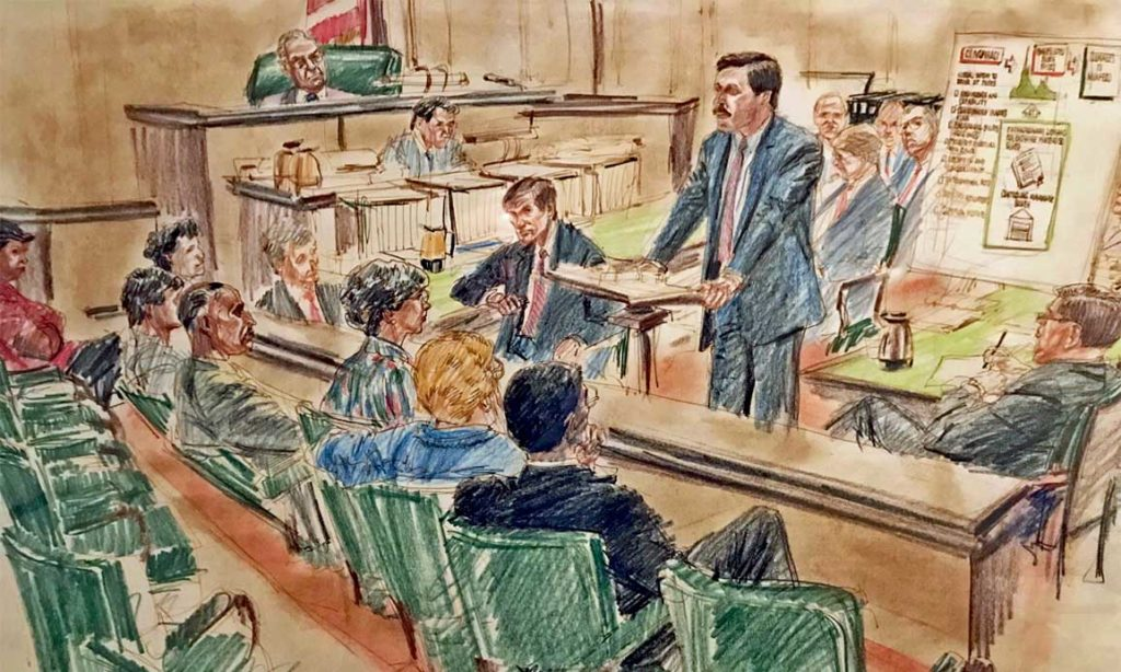Courtroom drawing of Mark Cymrot giving closing arguments