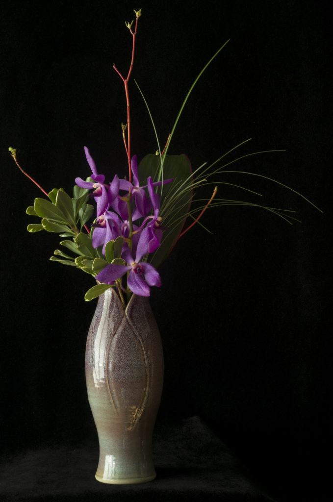 Purple Orchids in a Purple Vase