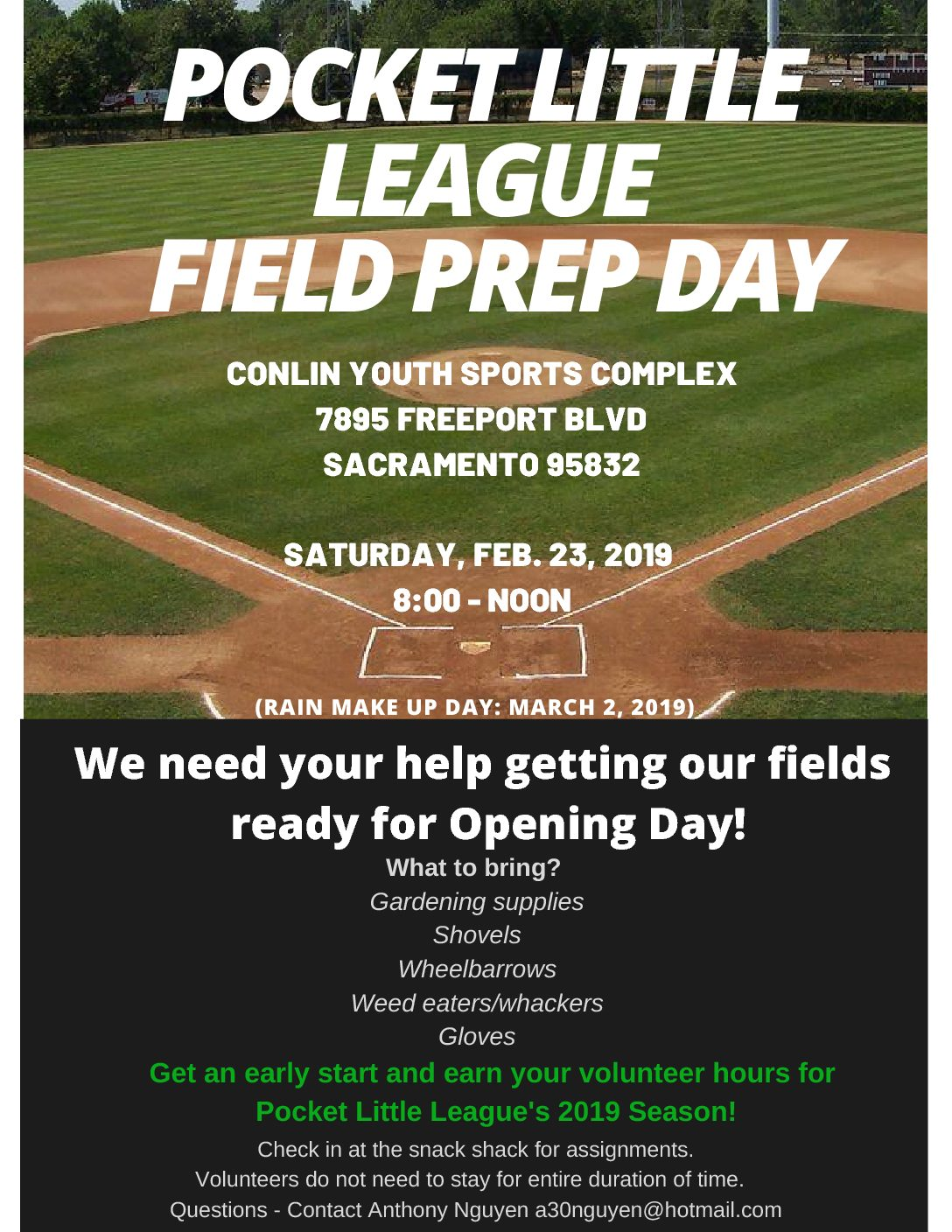 Field Prep Day is Saturday, February 23rd 2019