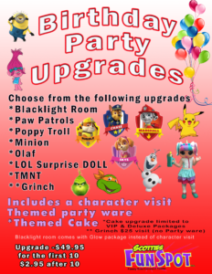 Brithday Party Upgrades