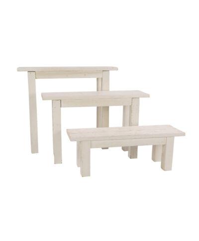 4' Whitewashed Bench