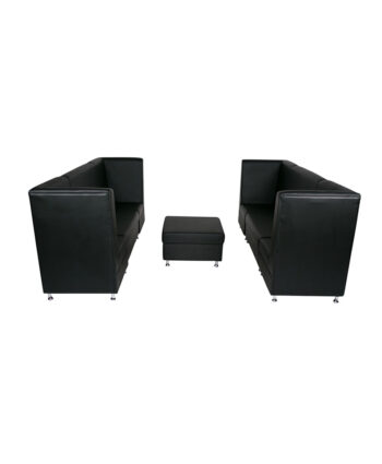 Black Mod High Back Grouping with Ottoman