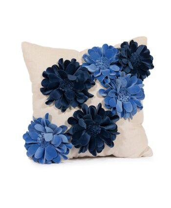 Blue 3-D Flower Pillow