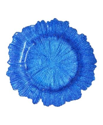 Blue Sea Sponge Glass Charger