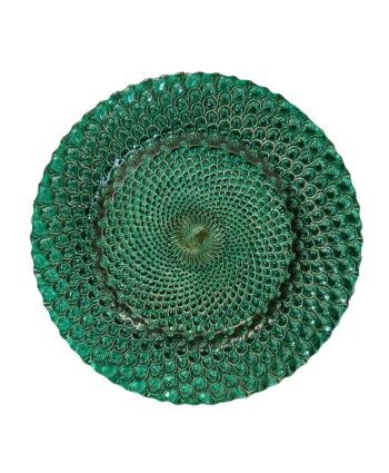 Emerald Peacock Glass Charger