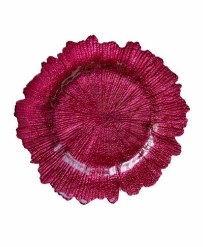 Fuchsia Sea Sponge Glass Charger