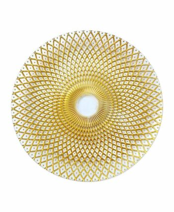 Gold & Clear Weave Glass Charger