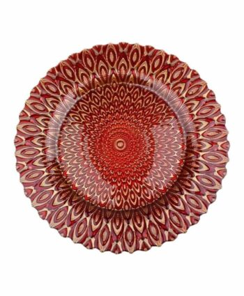 Red & Gold Petal Glass Charger
