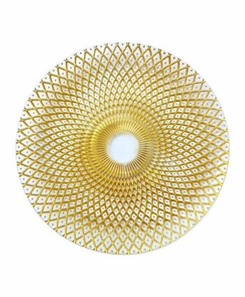Gold & White Weave Glass Charger