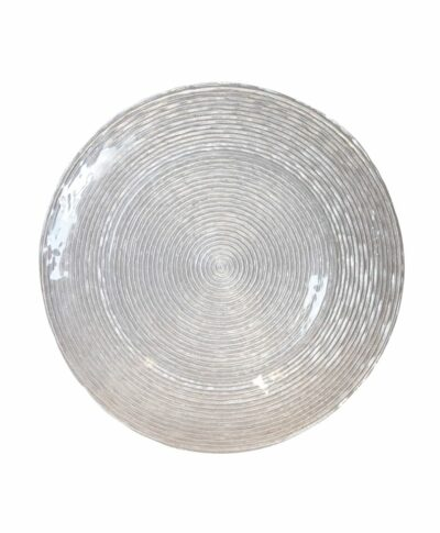 Silver Glitter Spiral Glass Charger