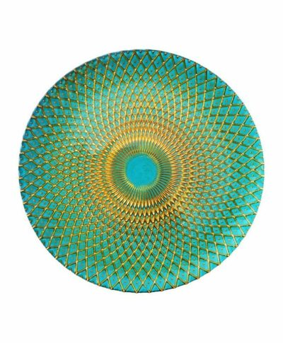 Turquoise & Gold Weave Glass Charger
