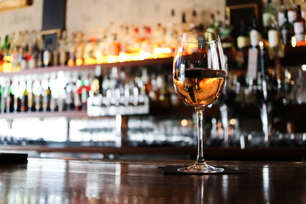 Wine glass from wine on tap