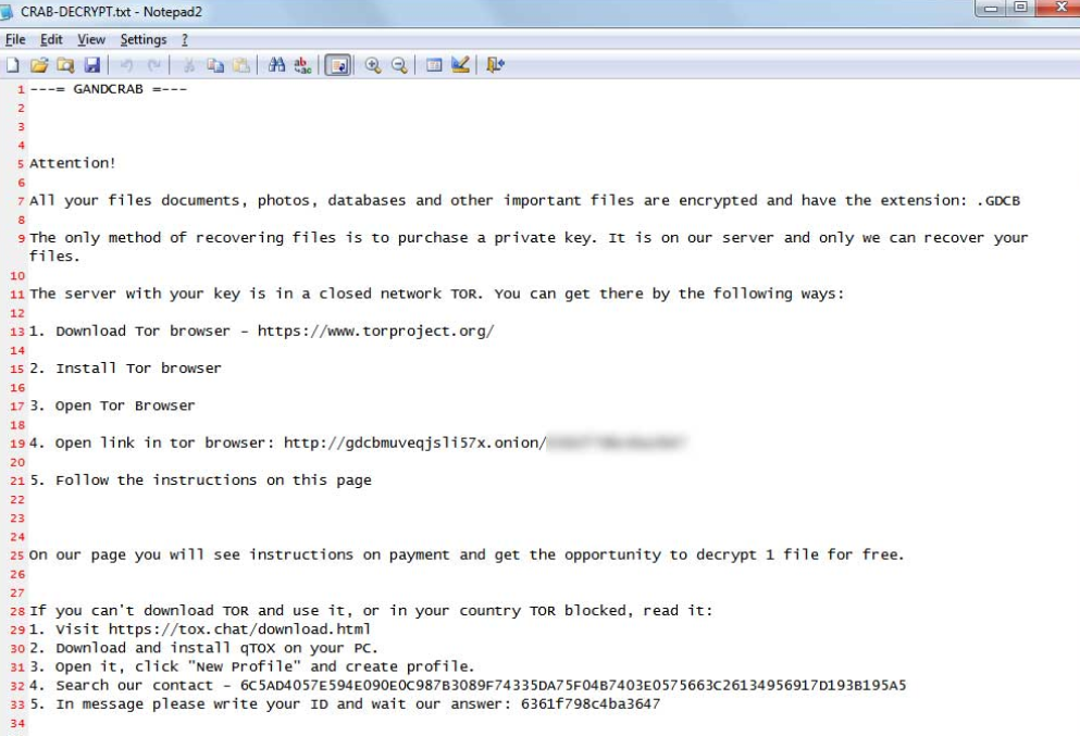 .crab File Extension Ransomware