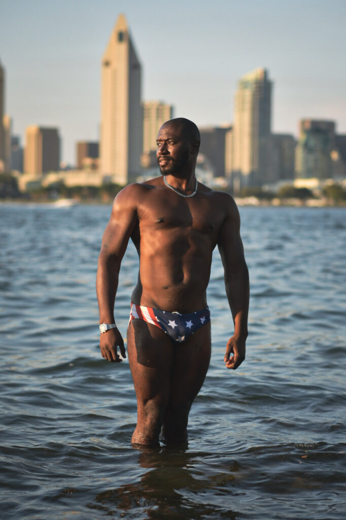 QABradford wearing NoodleBags swim briefs at Coronado
