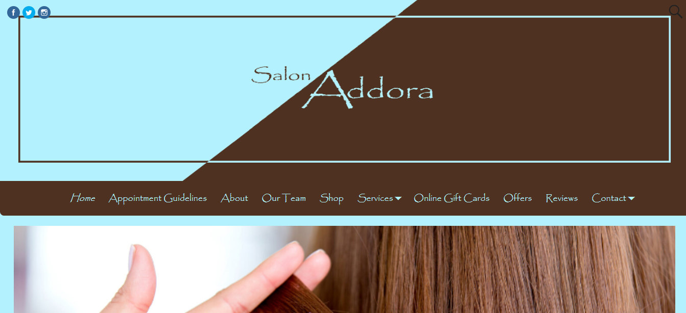 Salon Addora New Website 2020