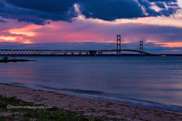 Point North Photography-SUN SETTING AT MACKINAC BRIDGE