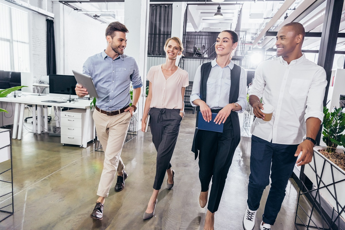 coworkers walking, active at work