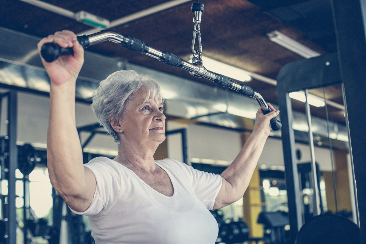 active senior adult, senior weight lifting