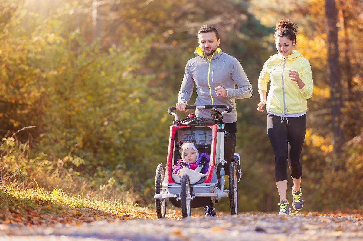 active family, family jogging