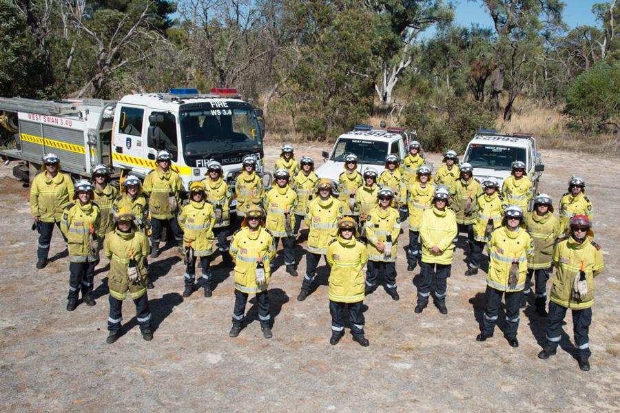 Some members of the West Swan Volunteer Bush Fire Brigade - established in 1957