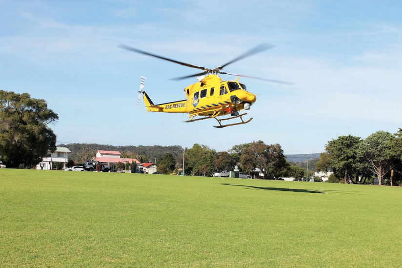 The Bunbury-based RAC rescue helicopter lands on Walpole Oval ahead of a day of training on Sunday. Photo: The West