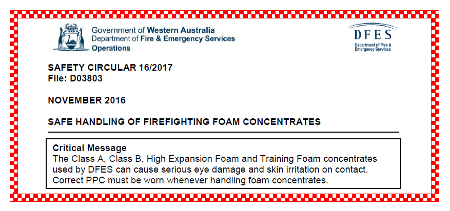 DFES Safety Circular: Safe handling of firefighting foam concentrates