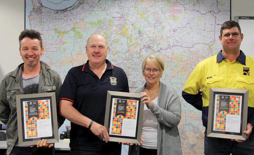 Peter Hill, Colin and Angela Hales and Chris Doherty receive their Volunteer Employer Recognition awards at a special ceremony in Manjimup on Friday.Picture: Tari Jeffers / Manjimup-Bridgetown Times
